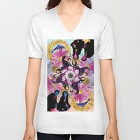 holographic V-neck T-shirts featuring alien hunters from the flower planet by STORMYMADE