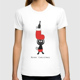 Cute black cat holding Christmas sock and champagne bottle T-shirt