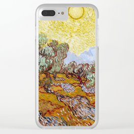 Van Gogh - Olive Trees with yellow sky and sun Clear iPhone Case