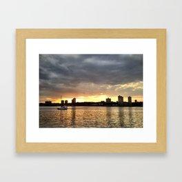 Sunset Ship Framed Art Print