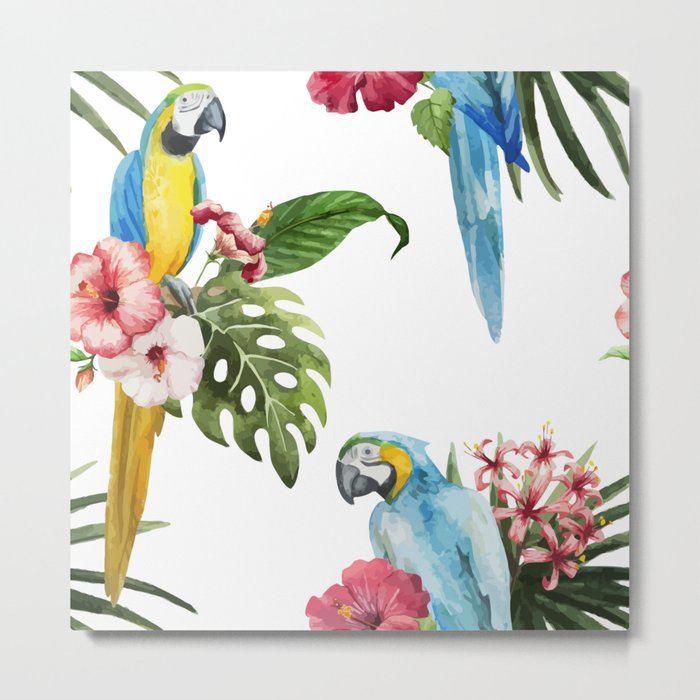 Tropical Bird Pattern 02 Metal Print