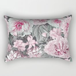 Nostalgic Flower Pattern Teal And Pink Rectangular Pillow