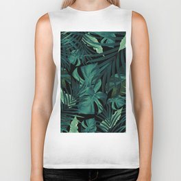 Tropical Jungle Night Leaves Pattern #1 #tropical #decor #art #society6 Biker Tank