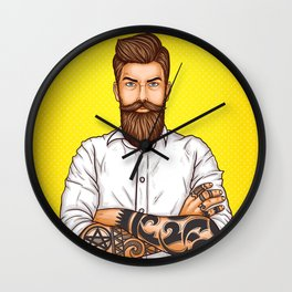 brutal bearded man, macho with tatoo Wall Clock