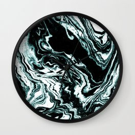 Suminigashi marbled japanese spilled ink watercolor painting marble turquoise art minimalist Wall Clock