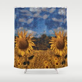 Sunflower in style of Vincent van Gogh Shower Curtain