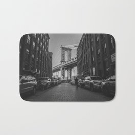New York City Bridge (Black and White) Bath Mat