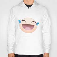 sticker Hoodies featuring SMILEY STICKER by ADAMLAWLESS