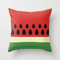 watermelon Throw Pillows featuring watermelon by ValoValo