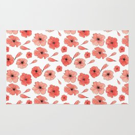 Red Poppies pattern Rug