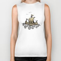 rowing Biker Tanks featuring Viking ship 2 by mangulica