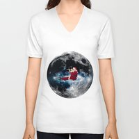 santa V-neck T-shirts featuring Santa by Cs025