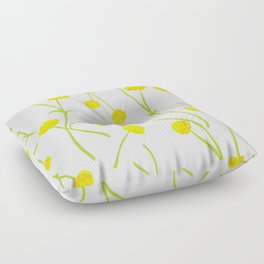 Summer Flower Pattern in Yellow and Green Floor Pillow
