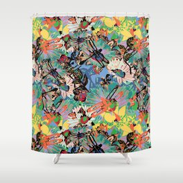 Flowers and dragonflys - colorful pattern in Pantone 2019 pallette Shower Curtain