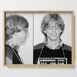 Bill Gates Mugshot 1977 Black & White Serving Tray