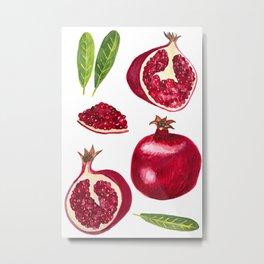 Pomegranate Autumn Fruits Gouache Painting Metal Print