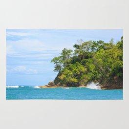 Ocean and forest cliff at Manuel Antonio Costa Rica Rug