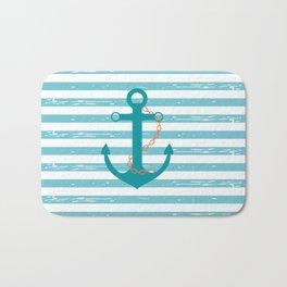 AFE Nautical Teal Ship Anchor Bath Mat