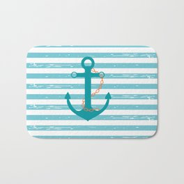 AFE Nautical Teal Ship Anchor Bath Mat