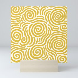 Ripple Effect Pattern Yellow Mini Art Print