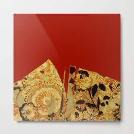 torn golden floral on red Metal Print