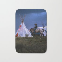 Cowboy on Horse With Teepee Bath Mat