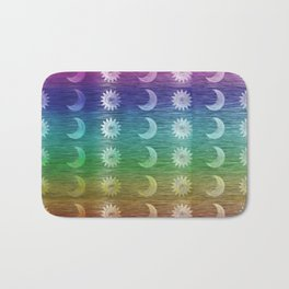 Rainbow Sun and Moon Celestial Hippie Pattern Bath Mat