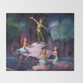 The Mermaid Lagoon-Peter Pan Throw Blanket
