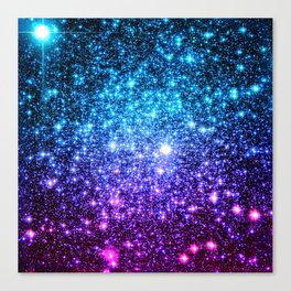 Glitter Galaxy Stars : Turquoise Blue Purple Hot Pink Ombre Canvas Print