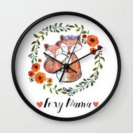 Foxy Mama Wall Clock