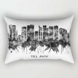 Tel Aviv Israel Skyline BW Rectangular Pillow