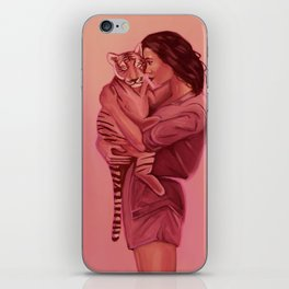Girl Holding Tiger iPhone Skin