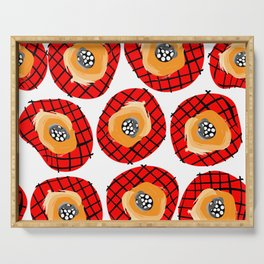 Irregular Red Circles with Black Cross Hatch Yellow Orange and Black Center. Serving Tray