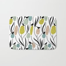 Decorative Birds - Graphic pattern pretty birds and flowers Bath Mat