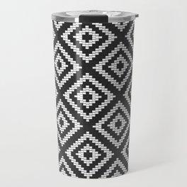 Stair Step Diamond Geometric Tribal in Black and White Travel Mug