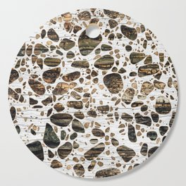 Terrazzo - Mosaic - Wooden texture and gold #4 Cutting Board
