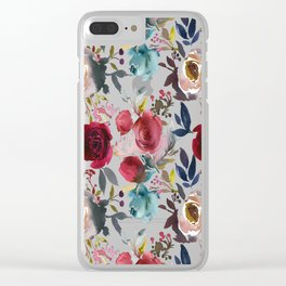 Hand painted burgundy coral teal watercolor botanical roses Clear iPhone Case