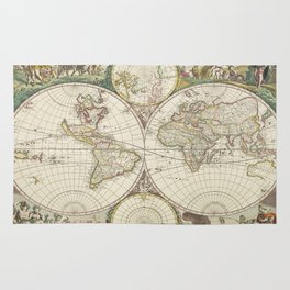 Vintage Map of The World (1680) Rug