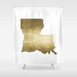 louisiana gold foil state map Shower Curtain