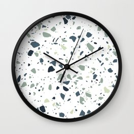 Terrazzo Blue And Green Mosaic Marble Pattern Wall Clock