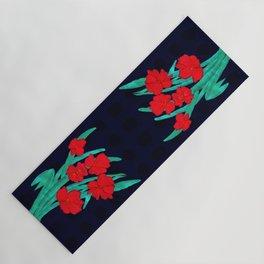 Red flowers gladiolus art nouveau style Yoga Mat