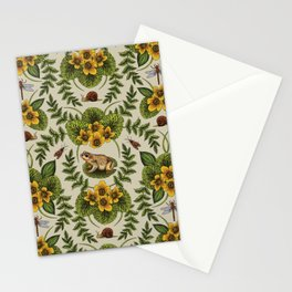 Wetlands Creatures - Toads, Snails, Dragonflies & Marsh Marigolds Stationery Cards