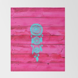Hipster Teal Dreamcatcher Girly Pink Fuchsia Wood  Throw Blanket