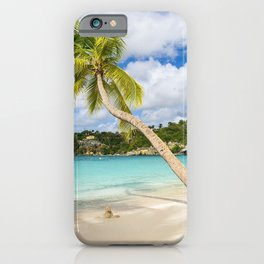 Caribbean Sea Guadeloupe tropical islands beach summer palm white yacht iPhone Case