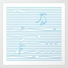 Light blue stripes (Ribbon) Art Print