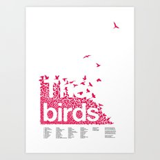 The birds / Red on white Art Print