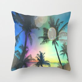 Summer Dreams : Pastel Palm Trees Throw Pillow