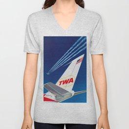 America  - 1960s Vintage Airline Travel Poster Unisex V-Neck