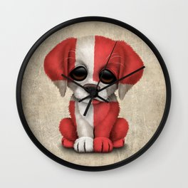 Cute Puppy Dog with flag of Denmark Wall Clock