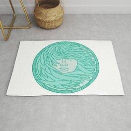 Polynesian Woman Sea Kelp Hair Circle Mono Line Rug